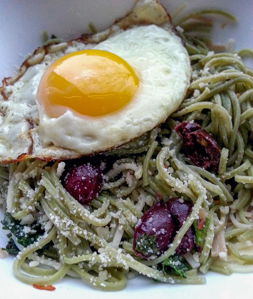 Olive Pasta with Fried Egg - Lazy Girl Lunch