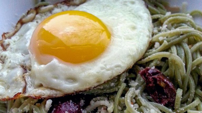 Olive Pasta with a Fried Egg Recipe – Lazy Girl Lunch